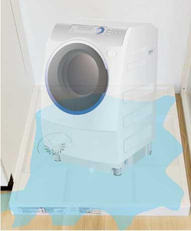 洗濯機のすすぎ洗い時に洗濯パンに水がたまる