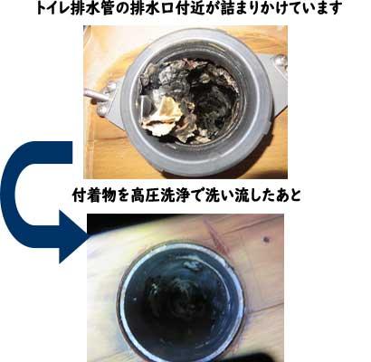 トイレ排水管のつまりを高圧洗浄