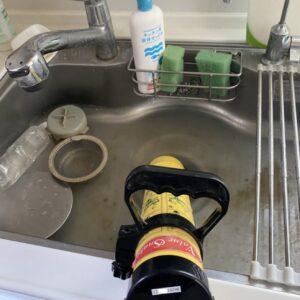 キッチンつまり圧力ポンプ修理中